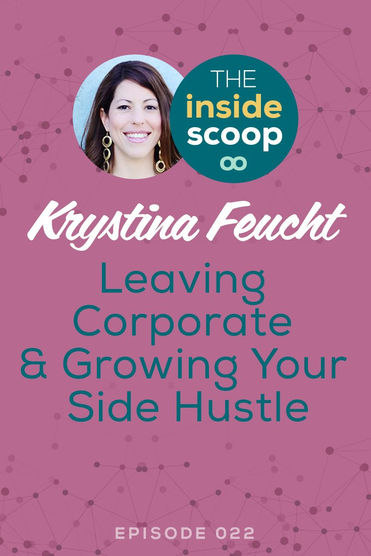 Pin this + discover the real truth about growing your business as a side hustle from Krystina Feucht, former corporate gal who grew her marketing agency as a side business before going full-time entrepreneur. She shares how she grew her business with limited time to work on it, making the transition to full-time entrepreneur, and why community & referrals are key.
