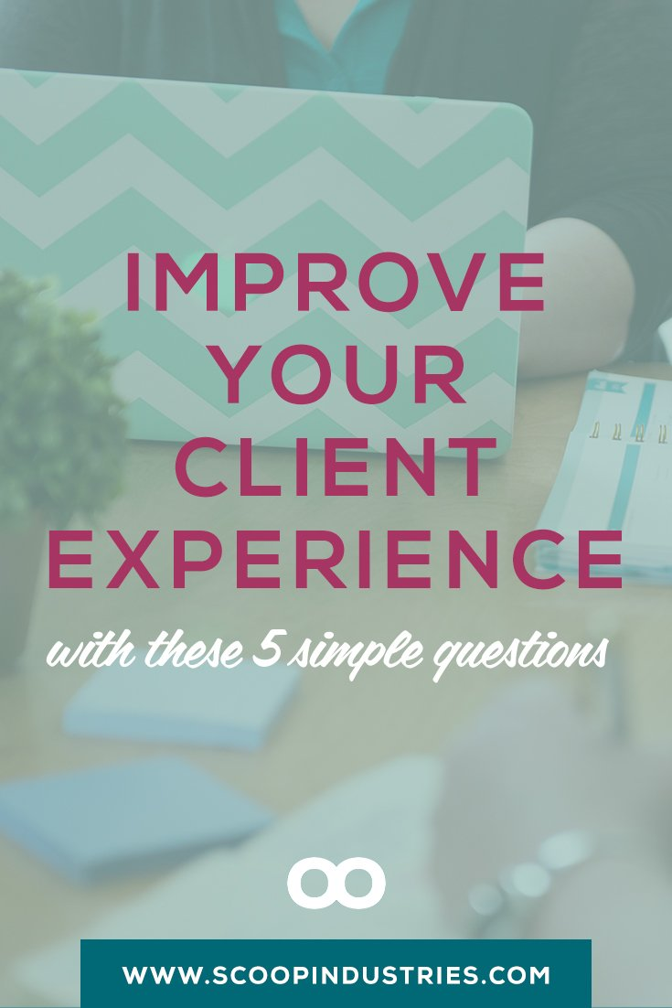 Pin this + get the 5 key questions you need to ask to improve your customer experience. Happy clients refer more clients, and your reputation is built on having clients who can't wait to refer you. If client experience isn't a high priority for your business right now, it could be costing you a boatload. Start by asking yourself these 5 questions about your client experience + discover how you can surprise and delight at every step.