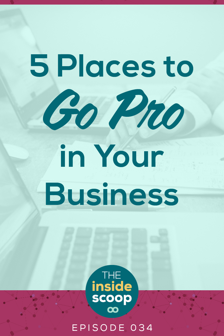 Even if you're a freelancer or a solopreneur, there's some places you need to go pro with your biz. Here's five of them that will help you grow your services or online business in a big way. **Pin for Later **