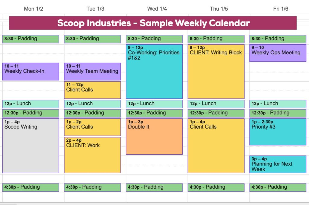 sample weekly calendar when you work with clients
